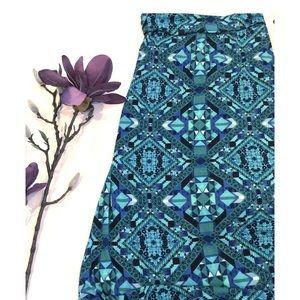 Mossimo Geometric Pattern Blues Maxi Skirt